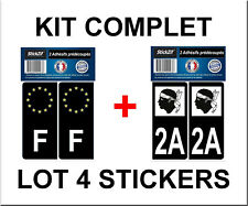 4 STICKERS NOIR REGION + F PLAQUE IMMATRICULATION DEPARTEMENT 2.A CORSE DU SUD