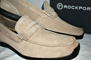 ROCKPORT New Drivesports Lite Penny Loafers 12 M Men's Rocksand Suede NIB