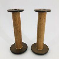 """2 Vintage PRIMITIVE Large 9"""" Wooden Industrial Textile Bobbin Spool CANDLESTICKS"""