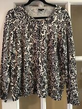 TALBOTS Modern Cardigan Black and Cream with SHIMMER Size 1X