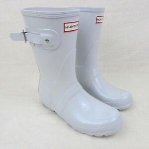 "Hunter Original Women's 10"" Short Gloss White Rain Boots Size 7"
