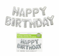 Happy Birthday Balloon Banner Kit - Silver - Air Party Decoration Letters Value