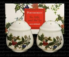 PORTMEIRION THE HOLLY AND THE IVY SALT AND PEPPER CRUET SET BOXED