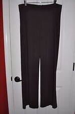 TALBOTS Women's sz L Brown Jersey Knit Traveler No Pocket Straight Dress Pants