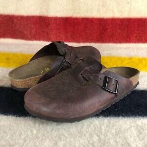 Birkenstock Boston Brown Leather Pattern Clogs Sz 38 EU 7 US C021