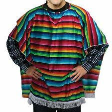 Adult Mens Unisex Mexican Spanish Poncho Fancy Dress Western Cowboy Costume