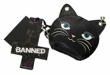 Banned Feminine Feline Cat Face Reto Bell Earring Coin Purse