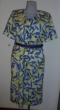 Neues  Damenkleid Gr.40    gelb/blau    kurz Arm   Polyester  Nr.4655