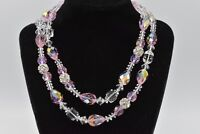 Genuine Glass Pink Aurora Borealis Crystal Strand Vintage Necklace Shiny Bin3
