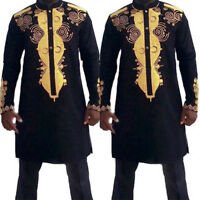 Men African Dashiki Print T-Shirt Tribal Black Tee Succinct Hippie Tops Blouse