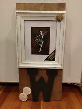 Rustic Wood Photo Frame Wall Hang Sign Letter W Initial Monogram Burlap Rose Vtg
