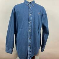 Tommy Jeans Blue Solid Jean Denim Button Down Shirt LS Crest Logo Mens Size L