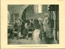 Gravure ancienne 1889 veille de la première communion Desrousseaux issue livre