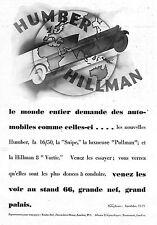 AUTOMOBILES HUMBER HILLMAN PUBLICITE ADVERTISING 1930