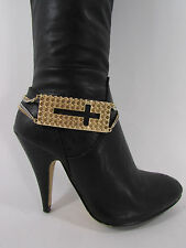Women Fashion Jewelry Boot Bracelet Gold Plate Cross Chains Shoe Bling Charm