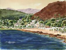"""""""Chapala, Mexico"""" 8x10double-matted Watercolor Art Print by artist, Julie Hammer"""
