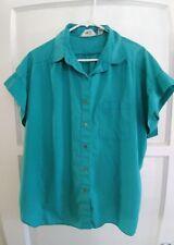 Green Shirt Button FrontEllen B Cap Sleeve V-Neck Size 26  See Measurements