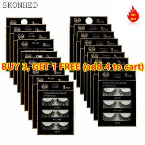 SKONHED 3 Pairs Soft Mink False Eyelashes Long Lashes Extension Beauty Makeup