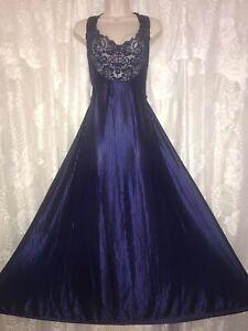 VTG PETRA 2X NAVY Blue Semi Sheer Illusion Nightgown Cris cross back w Lace Trim