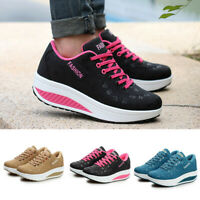 Women Casual Trainers Sports Sneakers Lady Lace Up Walking Platform Shoes Comfy