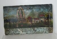 1910 Mexican Ex Voto Retablo Votive Lamina Charros Orig Oil on Tin Guadalupe