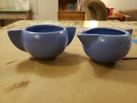 Vintage Haeger Pottery Mid Century Modern Matte Blue Cream Sugar Set