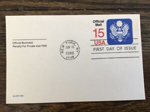 Stamps USA 🇺🇸 #UZ4 Mint, 1988 Official Mail, Postal card, 15c Great seal FDC