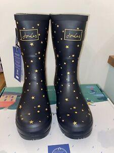 Joules Size 7 Navy & Gold Star Print Mid Height Wellies Stunning New With Box