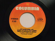 Art Garfunkel James Taylor Paul Simon 45 WONDERFUL WORLD / WOODEN PLANES~VG+