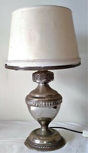TABLE LAMP. CHISELED SILVER. SPAIN. 1973