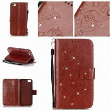 Luxury Bling PU Feather Crystal Diamond Wallet Flip Case Cover For Samsung Phone