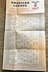 """American League 1967 Baseball Official Schedule 23"""" x 12.5"""" for wall hanging"""