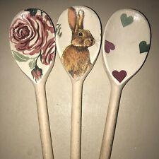 Wooden Spoon Set In EMMA BRIDGEWATER Pink Roses Green Hearts Rabbit Gift Idea