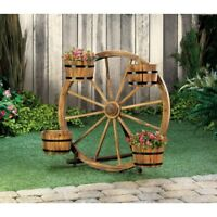 Rustic Western WOOD BARREL Old Style Wagon Wheel Lawn Garden Decor Planter Stand