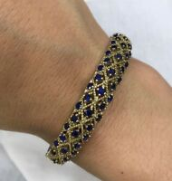 Turkish Handmade Jewelry Sterling Silver 925 Sapphire Bracelet Bangle Cuff