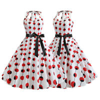 Women Polka Dot Lace Up 50s Vintage Evening Party Prom Rockabilly Cocktail Dress