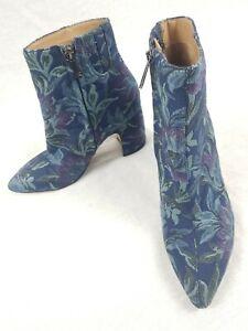 Sam Edelman Hilty Ankle Boots US Size 6/UK 3.5 Denim Blue Spruce Tapestry Heels