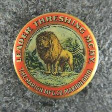 Leader Threshing Machinery Marion Ohio Mfg Co. Lion Pinback Button Antique