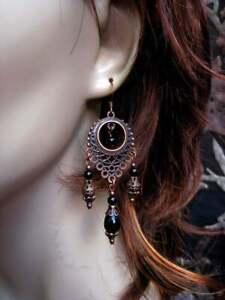 Gypsy Moon Designs Handcrafted Black Onyx Copper Chandelier Earrings Boho Hippie