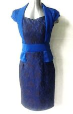 Stunning Dao Design Blue and Black Lace Cocktail Dress, Cap Sleeve Size 8/10