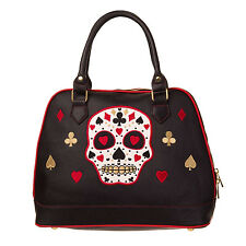 Womens Ladies Black Sugar Skull Heart Spades Rockabilly Tattoo Goth Handbag