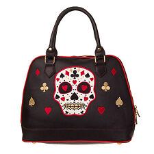 Womens Ladies Black Sugar Skull Heart Spades Rockabilly Tattoo Goth Handbag