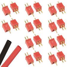 10 X Pares Rc Mini Deans T-Plug Conectores CES Lipo Batería + heatshrink