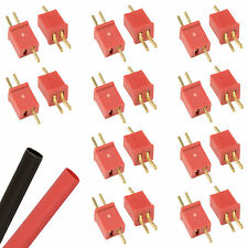 10 x PAIRS RC Mini Deans T-Plug Connectors ESC LiPo Battery + Heatshrink