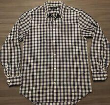 APC Rue Madame Paris Mens Sz Small L/S Button Front Black White Plaid Shirt
