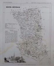Carte Département Les Deux Sèvres gravée sur acier par Alés Petit Atlas National