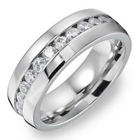8mm Stainless Steel Men's Ring Band Eternity Wedding Jewelry Silver Size 9-13