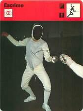 FICHE CARD:Cible au Sabre à l'Épée au Fleuret(Foil) Touche FENCING ESCRIME 1970s