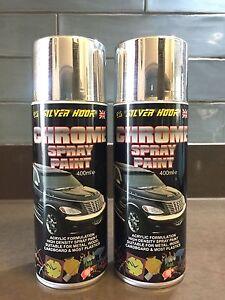 2 x Silverhook CHROME EFFECT Spray Paint - High Density Acrylic 400ml