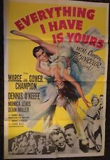 EVERYTHING I HAVE IS YOURS 1 sheet movie poster 1952 art of Couple dancing!